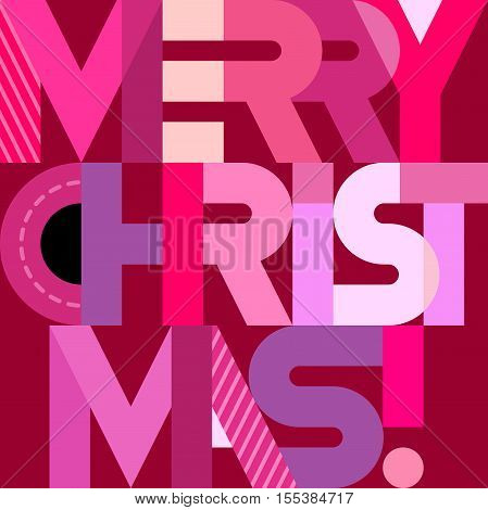 Merry Christmas! - vector decorative text architecture. Geometric style lettering design.