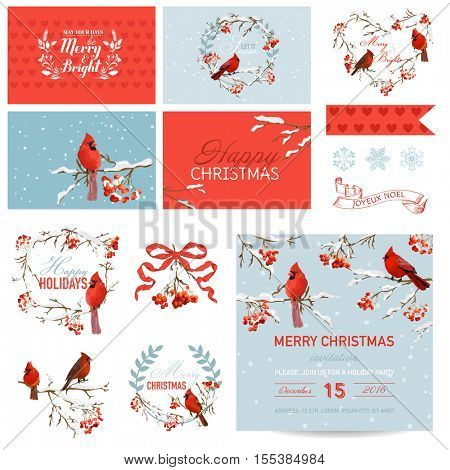 Scrapbook Design Elements - Vintage Christmas Birds and Berry Theme - in vector