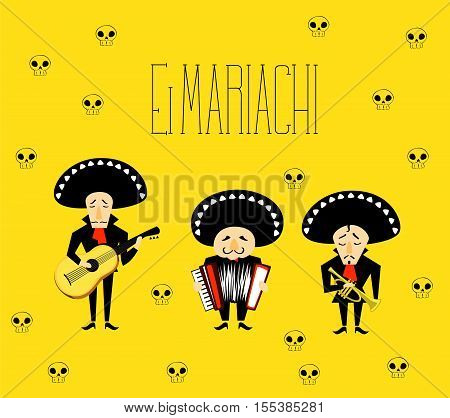 Mexican music band El Mariachi of three musicians - guitar, accordion, trumpet
