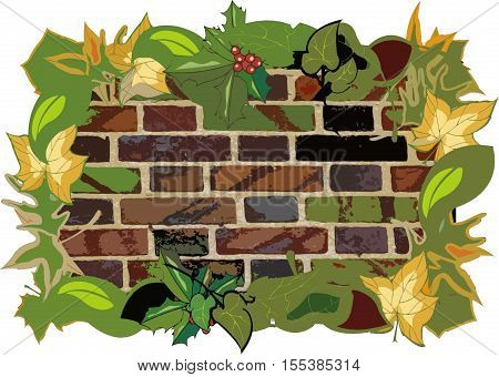 a brick wall surrounded by multicolored leaves