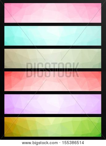 Set Of Low Poly Abstract Geometric Web Banners