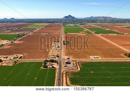 The Phoenix and Scottsdale Arizona skyline from above the Salt River Pima-Maricopa Indian Community