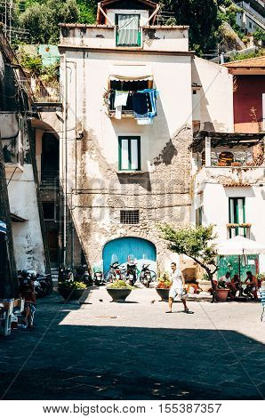 Sorrento Italy - July 15 2010: Life in the Italian town of Sorrento.