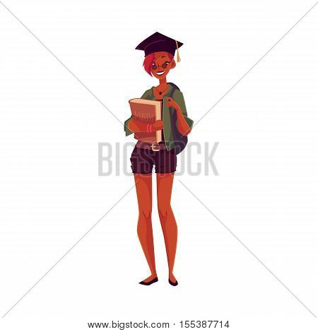 College, university student African girl in graduation cap holding textbooks in hands, cartoon style illustration isolated on white background. Casually dressed female student with books