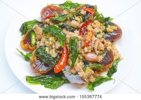 Fried basil with pork and preserved egg
