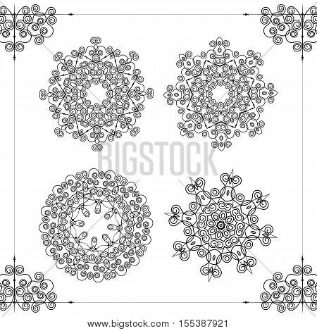 Beautiful ornamental rosettes set. For ethnic or tattoo design. Vector illustration