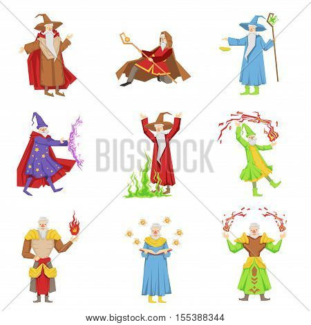 Classic Fantasy Magicians Set Of Characters. Fairy Tale Mages Colorful Fun Vector Drawings On White Background.