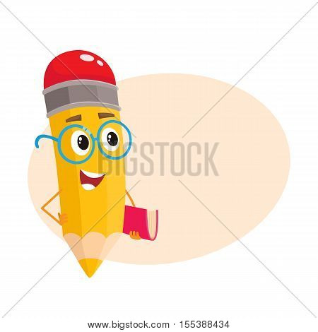Yellow cartoon pencil in glasses telling something clever and pointing finger up, vector illustration isolated on beige background for the text. Humanized funny pencil teacher in large nerdy glasses