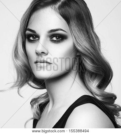 Portrait Of Beautiful Sensual Woman With Elegant Hairstyle. Perfect Makeup. Beauty Fashion. Eyelashe