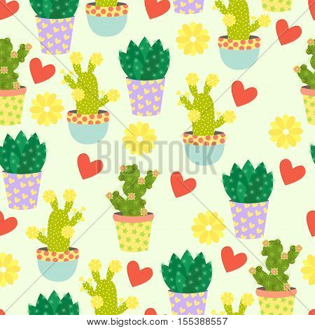 Seamless pattern with cute cacti, flowers and hearts. Mexican cactus seamless print. Cute pattern with cactus and flower on a cream background.