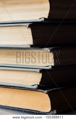 Vertical Stack Of Old And Used Books