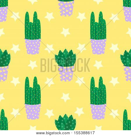 Cute cacti, flowerpots. Seamless pattern with cute cacti. Nature,spring. Cute vector illustration.