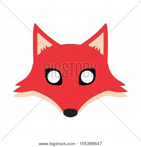 Fox mask for a holiday or masquerade. Vector Illustration foxy with big eyes and ears
