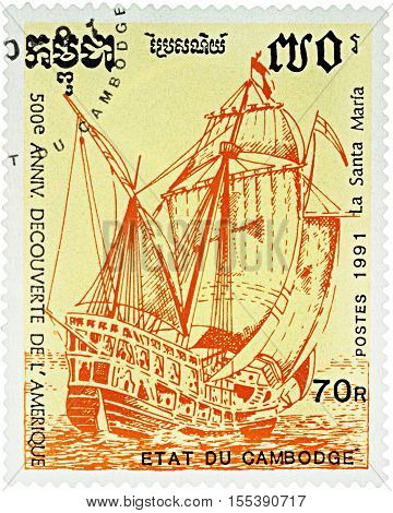 MOSCOW RUSSIA - NOVEMBER 04 2016: A stamp printed in Cambodia shows flagship Santa Maria 1st expedition of Columbus (1492) series