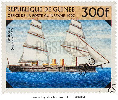 MOSCOW RUSSIA - NOVEMBER 06 2016: A stamp printed in Guinea shows ship