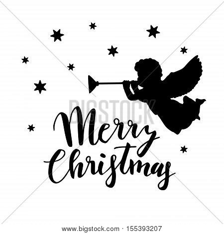 Vintage Christmas greeting card invitation with silhouette of angel blowing trumpet and stars. Handwritten Merry Christmas text. Vector illustration brush lettering.