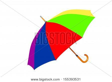 Multicolored umbrella isolated on white background taken closeup.