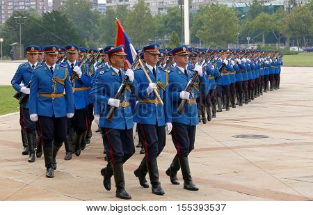 Belgrade Serbia. September 5th 2016: Honorary Guards units Army of Serbia marching at the plateau