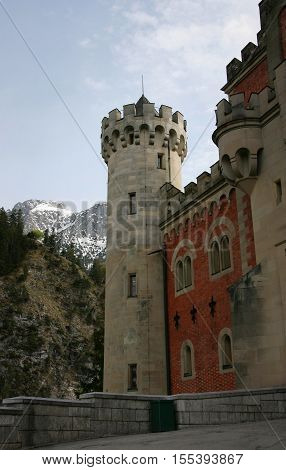 One of towers of Neuschwanstein castle Bavaria Germany