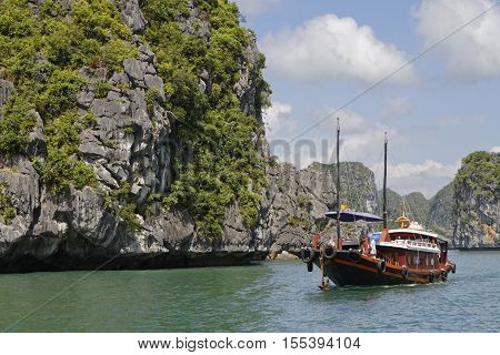 Cat Ba, Vietnam, October 27, 2016 : Touristic Boats In Cat Ba Archipelago, The Southeastern Edge Of