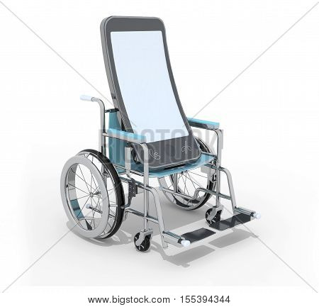 smartphone on a wheelchair , 3d illustration