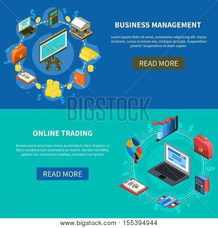 Business management and online trading isometric icons banners with read more button diagrams money computer symbols vector illustration
