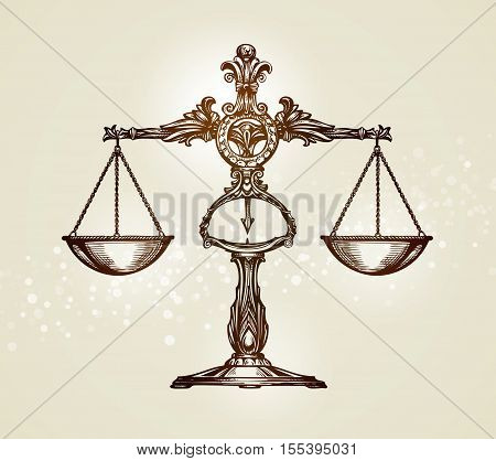Vintage scales of justice. Hand drawn sketch vector illustration