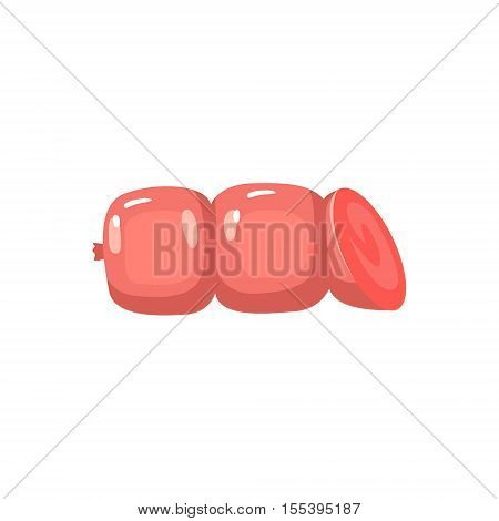 Chubby Sausage Colorful Illustration. Meat Product Vector Icon Isolated On White Background.