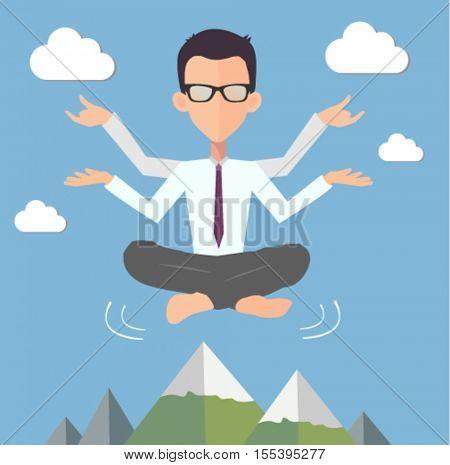 office man yoga illustration