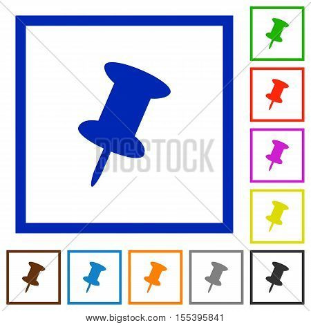 Push pin flat color icons in square frames