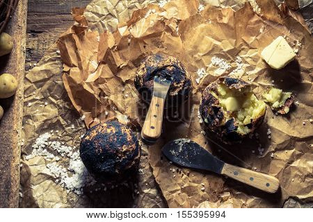 Jacket Potatoes With Butter Made In Campfire