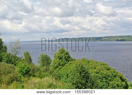 Volga River near the town of Kineshma, Ivanovo region. Vastness. Clouds. Volga.