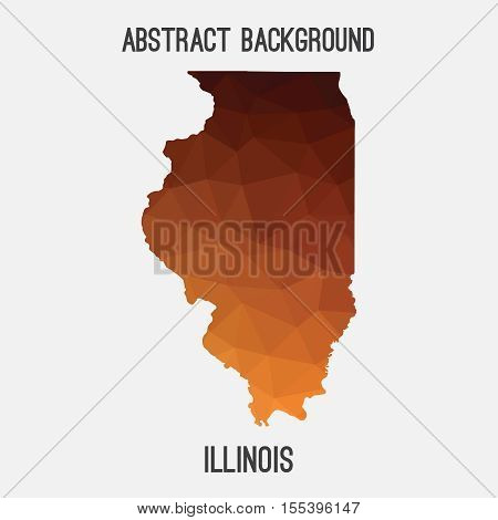 Illinois map in geometric polygonal,mosaic style.Abstract tessellation,modern design background,low poly. Vector illustration. poster