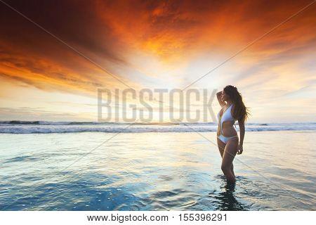 Beautiful sexy woman in bikini posing on beach at sunset