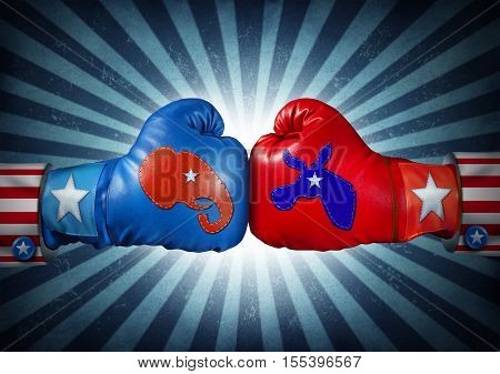 American election fight as Republican versus Democrat as two boxing gloves with the elephant and donkey symbol stitched fighting for the vote of the United states presidential and government seat.