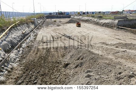 Construction Site With Construction Machinery