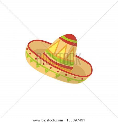Mariachi Hat Mexican Culture Symbol. Isolated Bright Color Vector Object Representing Mexico On White Background