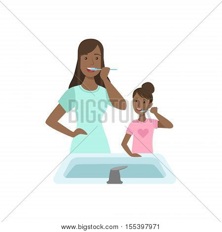 Mother And Child Brushing Teeth Together Illustration. Cute Simple Cartoon Style Drawing Of Single Mom And Her Kid Pastime.