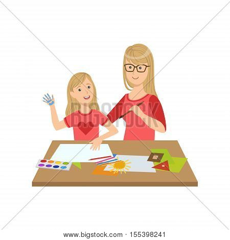 Mother And Child Doing Craft Together Illustration. Cute Simple Cartoon Style Drawing Of Single Mom And Her Kid Pastime.