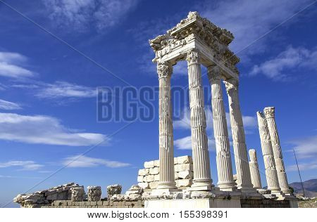 Temple of Trajan in the ruins of the ancient city of Pergamon in Turkey found.