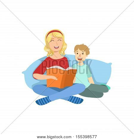 Mother And Child Reading A Book Together Illustration. Cute Simple Cartoon Style Drawing Of Single Mom And Her Kid Pastime.