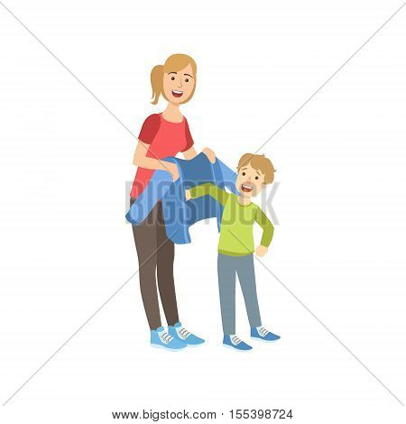 Mother And Child Preparing For Walk Together Illustration. Cute Simple Cartoon Style Drawing Of Single Mom And Her Kid Pastime.