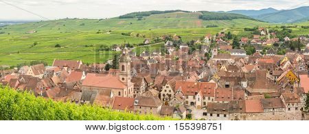 Riquewihr in the heart of the Alsatian vineyard Alsace France Panorama