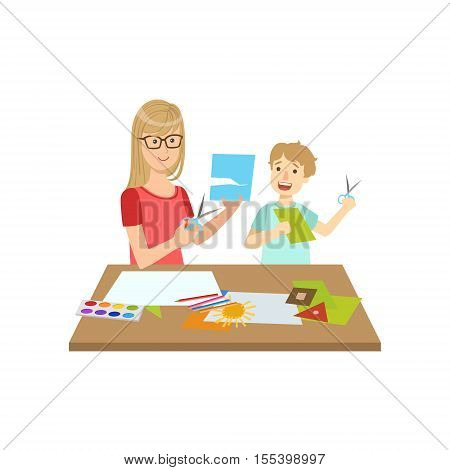 Mother And Child Doing Applique Together Illustration. Cute Simple Cartoon Style Drawing Of Single Mom And Her Kid Pastime.