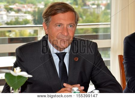 Bled, Slovenia. September 6th 2016. Slovenian Foreign Minister Karl Erjavec during the meeting