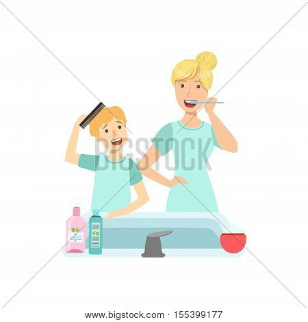 Mother And Child Preparing For Bed Together Illustration. Cute Simple Cartoon Style Drawing Of Single Mom And Her Kid Pastime.