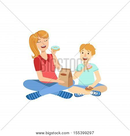 Mother And Child Eating Doughnuts Together Illustration. Cute Simple Cartoon Style Drawing Of Single Mom And Her Kid Pastime.