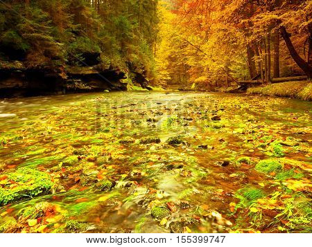 Autumn Mountain River With Blurred Waves,, Fresh Green Mossy Stones And Boulders