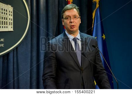 Joint Press Conference Of Serbian Pm Vucic And European Commissioner Hahn
