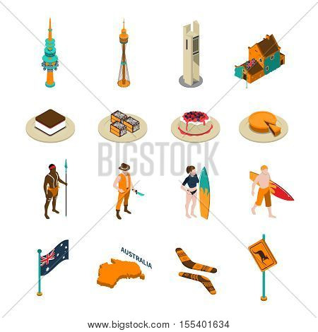 Australian tourists attractions and national symbols isometric icons collection with desserts boomerang and surfers isolated vector illustration